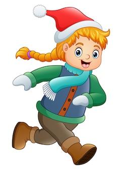 Векторная иллюстрация мультфильм девушка в зимней одежде размахивая