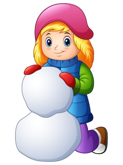 Мультяшная девушка в зимней одежде, создающая снежок