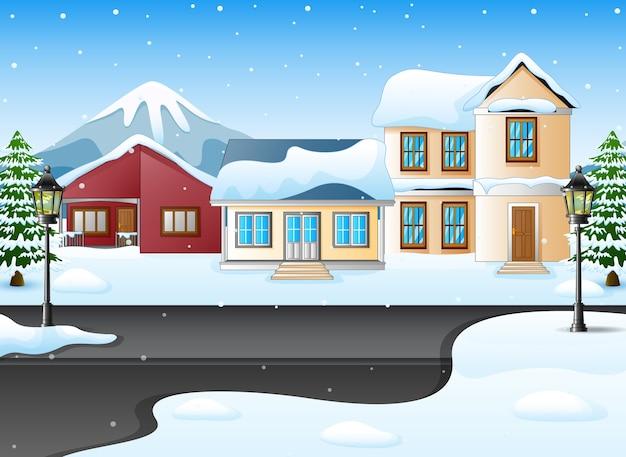 Зимний ночной пейзаж с домом и снежным на улице