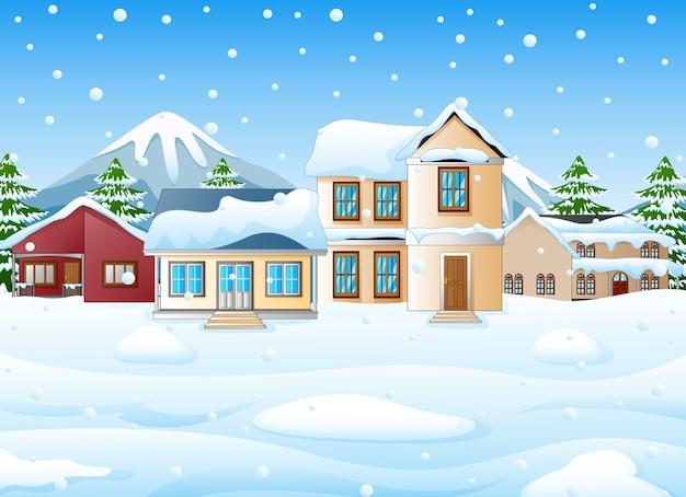 Зимний пейзаж с горами и снежным домом