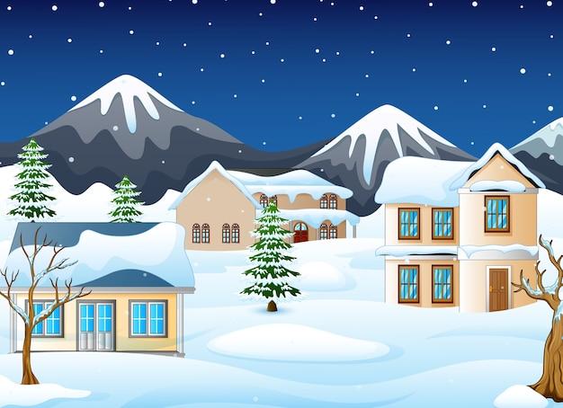 Зимний пейзаж горы с домом и снежной улицей