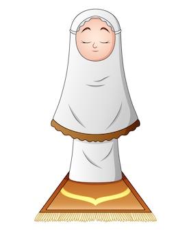 白い背景に祈っているイスラム教徒の少女