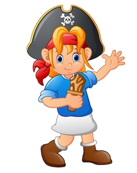 木製ナイフを持っている海賊少女