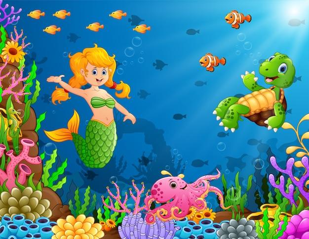 亀とタコの水中漫画人魚