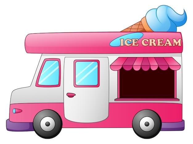 上にアイスクリームコーンを入れたアイスクリームトラック