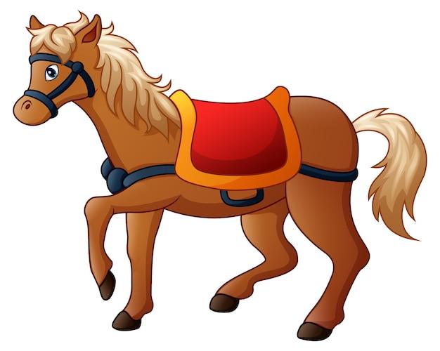 Векторная иллюстрация мультфильм лошадь с седлом