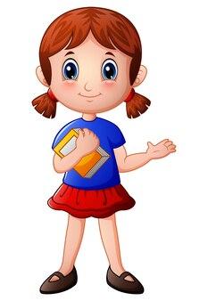 Мультфильм девочка держит книгу