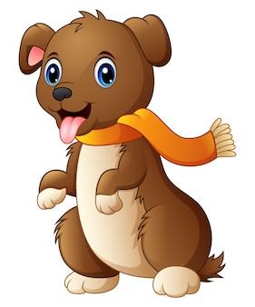 舌を持つスカーフの漫画犬