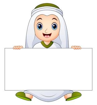 ハッピームスリムの子供が空のサインを持って