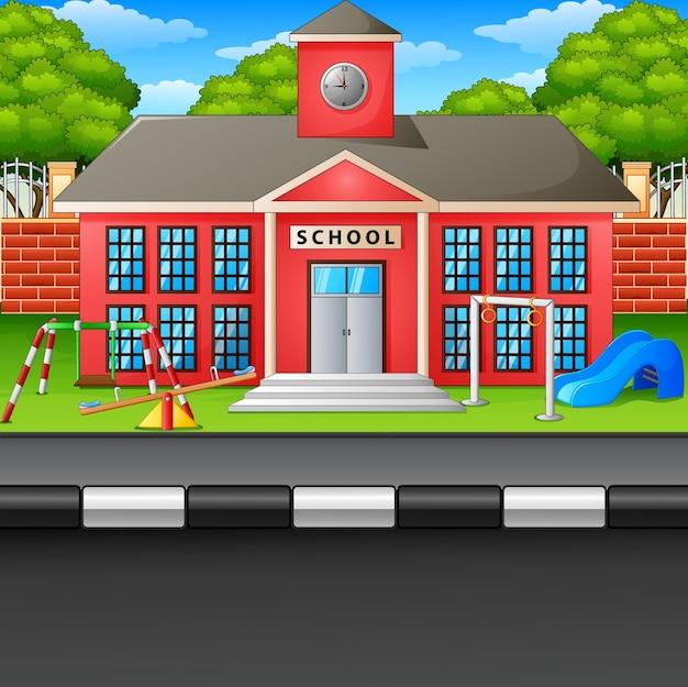 シーンの学校の建物と通りのベクトル図