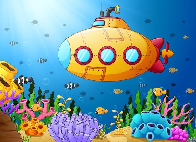 漫画の水中潜水艦のベクトル図