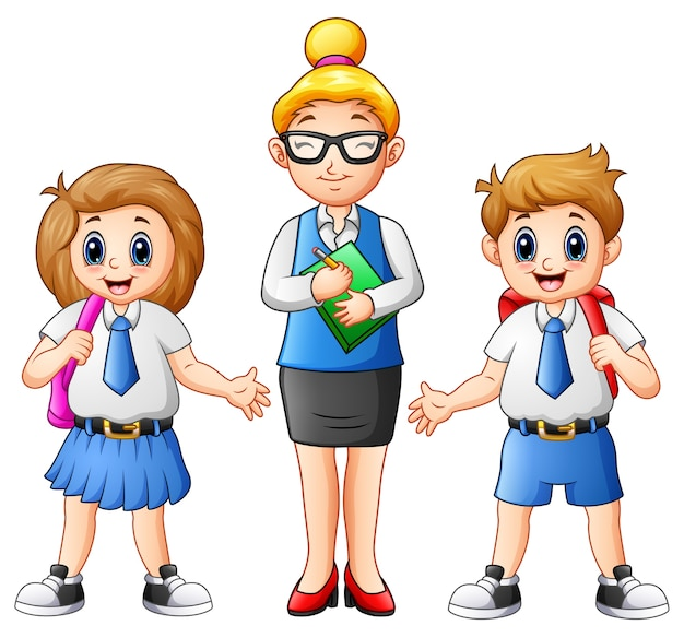 漫画の女性の先生と学生の制服