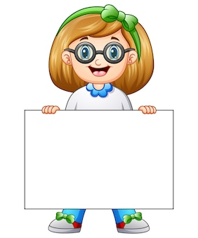 Симпатичные девушки мультфильм проведение пустой знак
