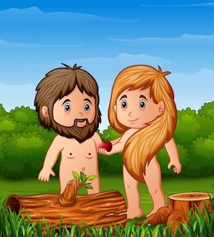 Канун мультфильма предлагает адаму яблоко