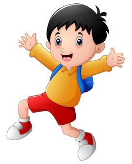 Счастливый школьный мальчик мультфильм