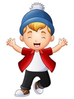 手を上げるかわいい少年のベクトル図