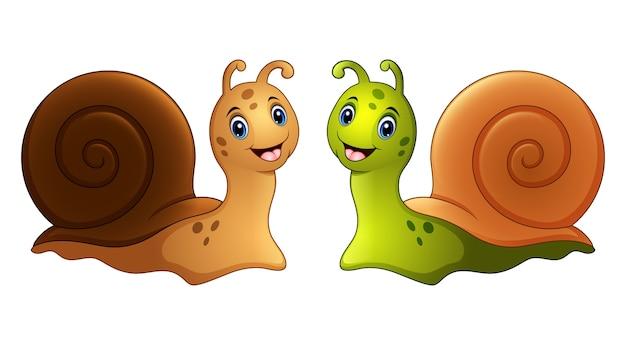 Векторная иллюстрация мультфильма улиток в двух цветах