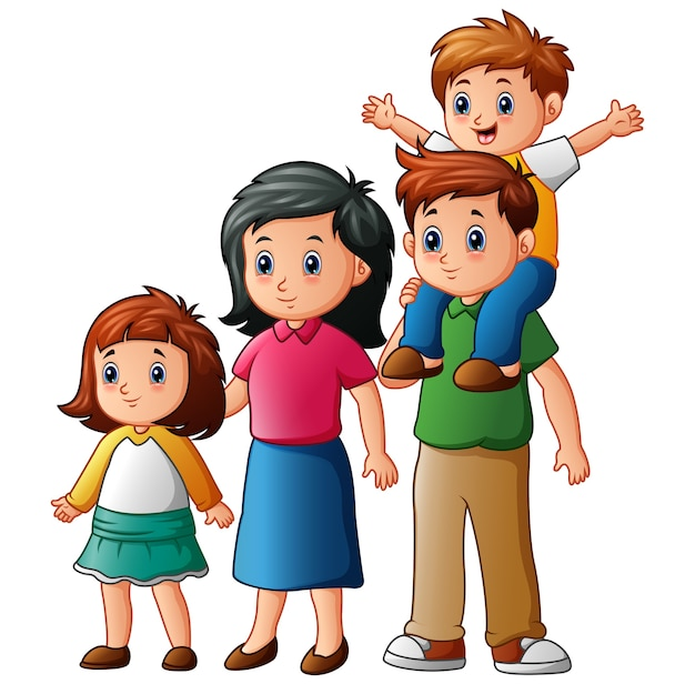 幸せな家族の漫画のベクトル図