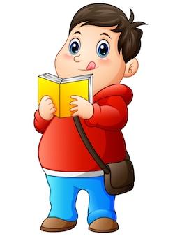Мультяшный толстяк в свитере, читающий книгу