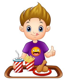 Мультфильм маленький мальчик с быстрого питания дает большие пальцы вверх