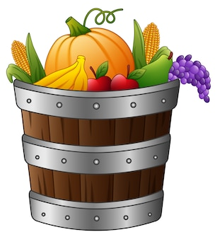 収穫の果物や野菜を入れた木製のバスケット