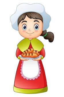 おいしいパンを運んでいる巡礼の女の子
