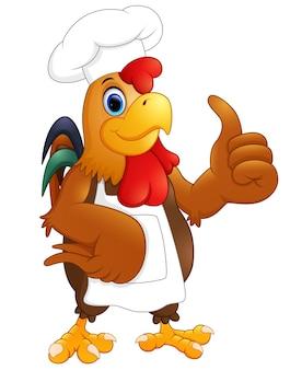 Мультяшный куриный шеф-повар, дающий пальцы вверх