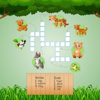子供向けゲームのアニマルクロスワードパズル