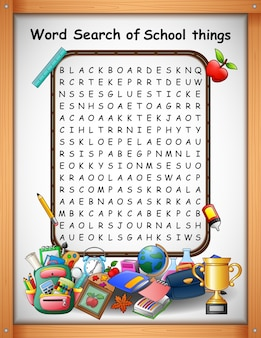 クロスワードパズルの単語は、子供のゲームのための学校のものを見つける