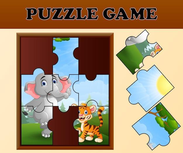 幸せな野生動物とジグソーパズルのゲーム
