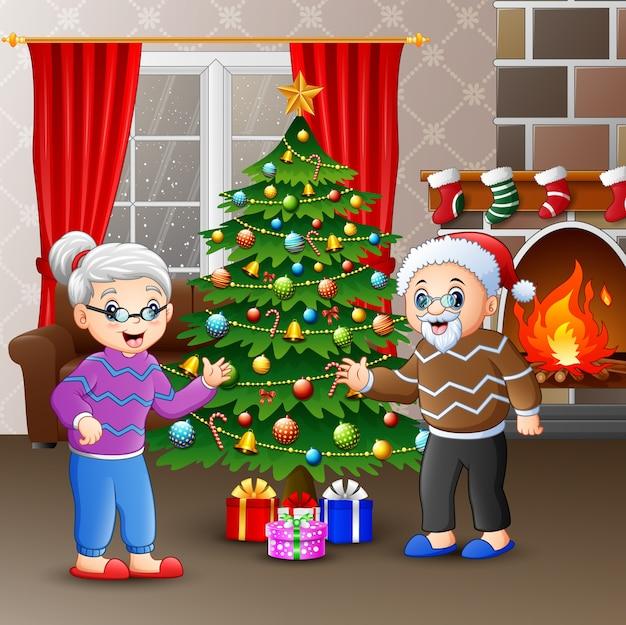 Бабушки и дедушки празднуют рождество