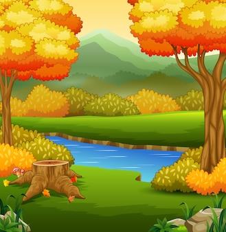 川と木の秋の風景