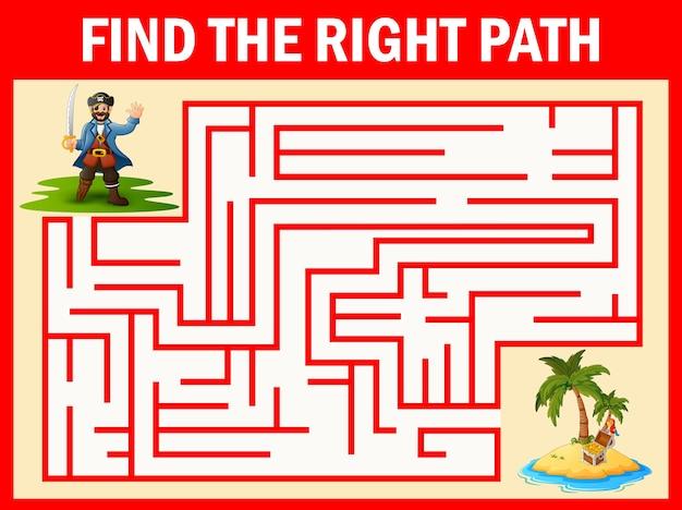 迷路ゲームは海賊の方法を宝に見つける