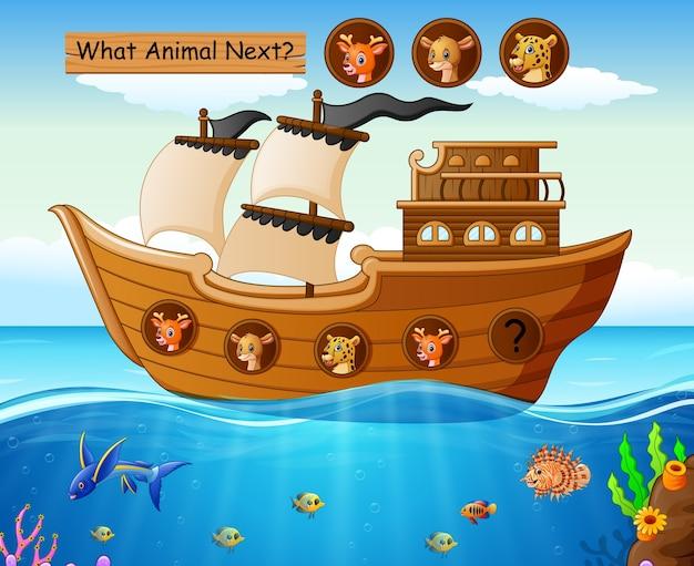 Деревянная лодка, парусная с дикими животными