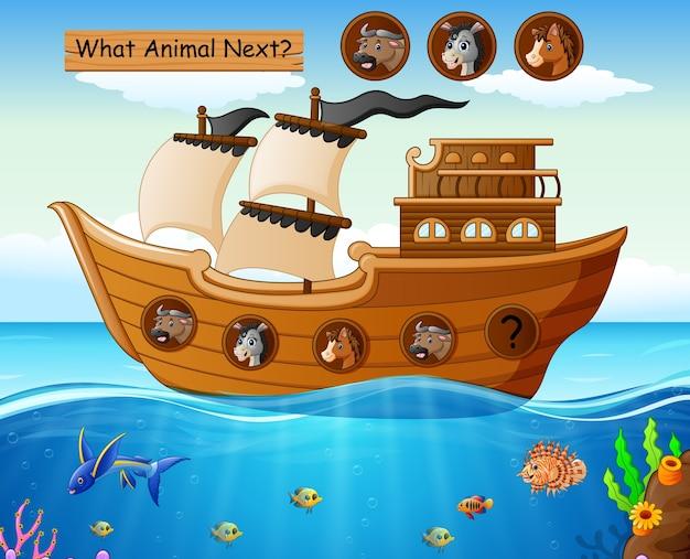 Деревянная лодка, парусная с животными