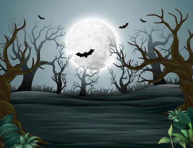 ハロウィーンの幽霊の森夜間