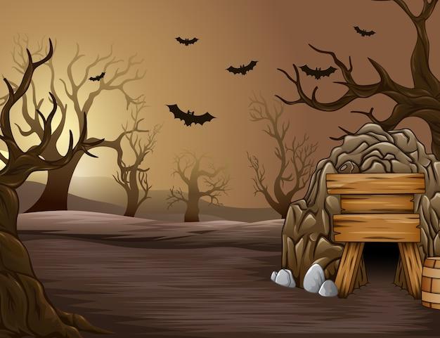 午後、ハロウィーンの奇妙な森