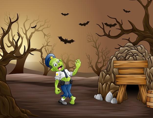 Мультфильм зомби полиции рядом с туннелем