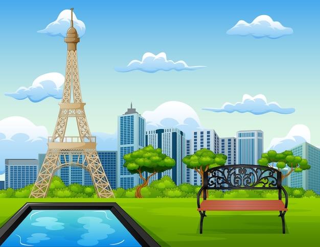 Иллюстрация пейзажного фона с эйфелевой башней