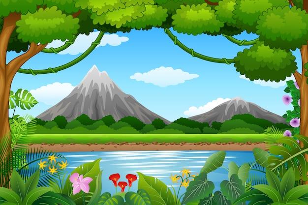 山と青い湖のある風景の背景