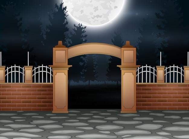 満月の背景の屋外ビュー