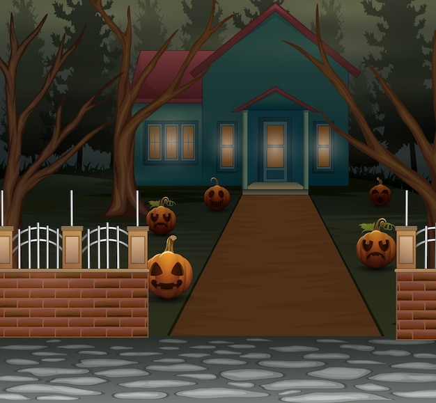 夜の恐ろしい家とハロウィーンの背景
