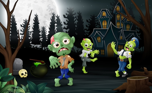 Мультфильм три зомби празднования хэллоуин партии