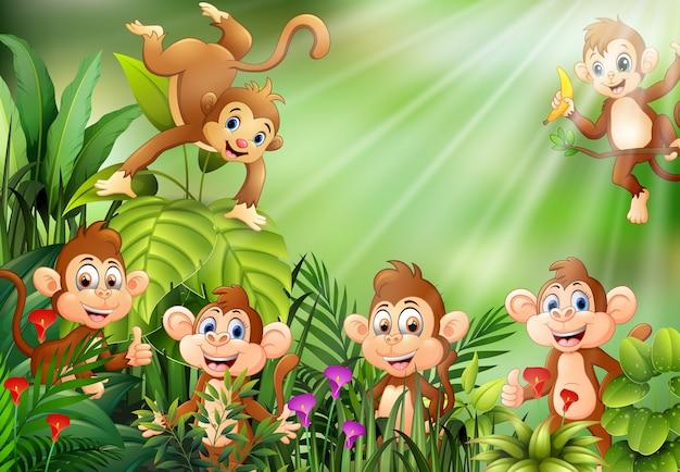 猿の漫画のグループとの自然の風景