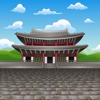 昌徳宮宮殿のフラットデザインランドマークのイラスト