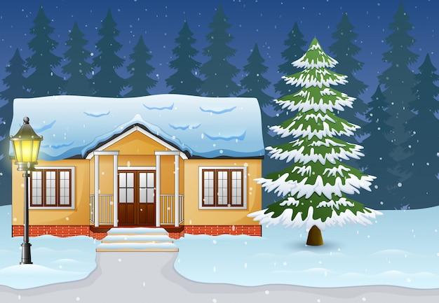 Мультфильм зимнего ночного пейзажа с домом и снегом на улице