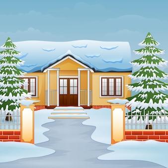 Мультфильм зимнего дневного пейзажа с домом и снегом на улице