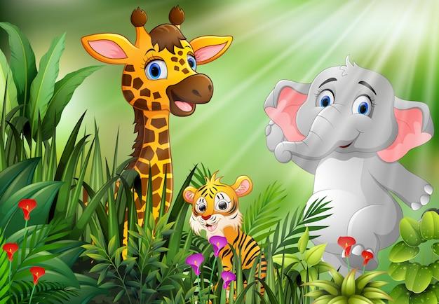 野生動物の漫画と自然の風景