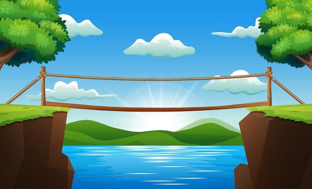 ストリームを渡るブリッジと背景シーン