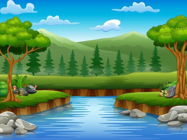 真ん中の美しい自然の風景の川の漫画